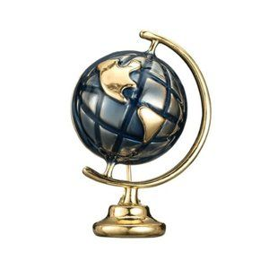 Enamel Earth Globe Brooch